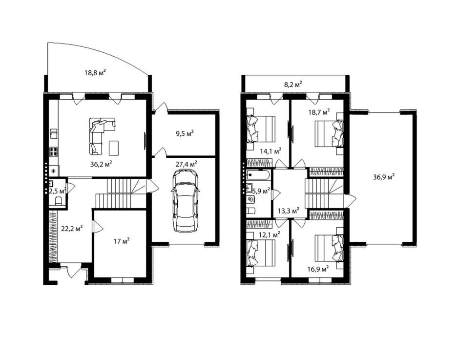Планировка таунхауса в Таунхаус Дулова 238 м², фото 273124