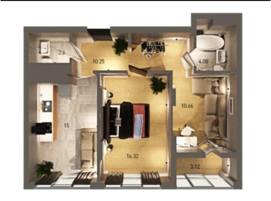 Планування 2-кімнатної квартири в ЖК Вільне Місто 62.03 м², фото 273847