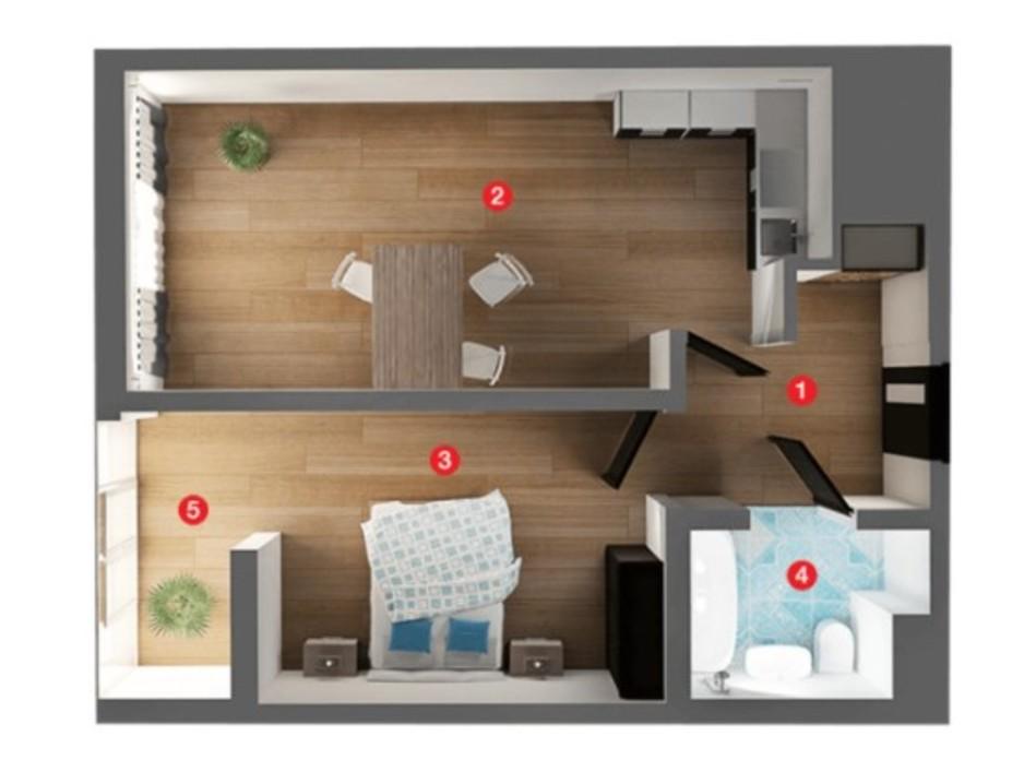 Планування 1-кімнатної квартири в ЖК Вільне Місто 44.82 м², фото 273890