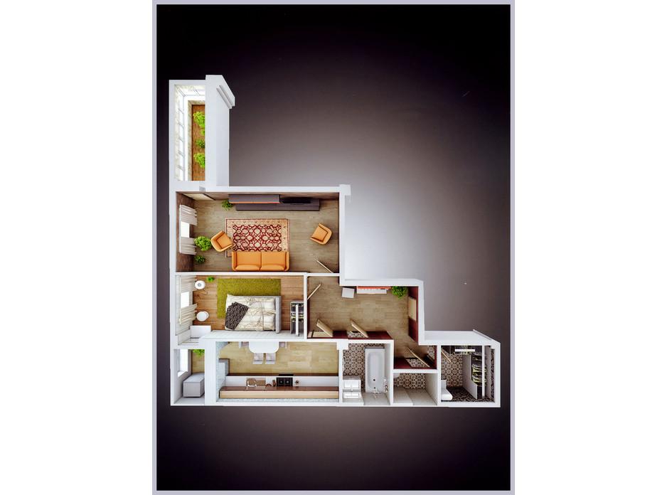 Планировка 2-комнатной квартиры в ЖК Молодежный квартал 64.9 м², фото 276111