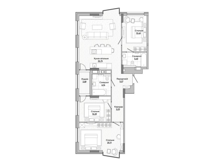 Планировка 3-комнатной квартиры в ЖК Lucky Land 107.91 м², фото 277905