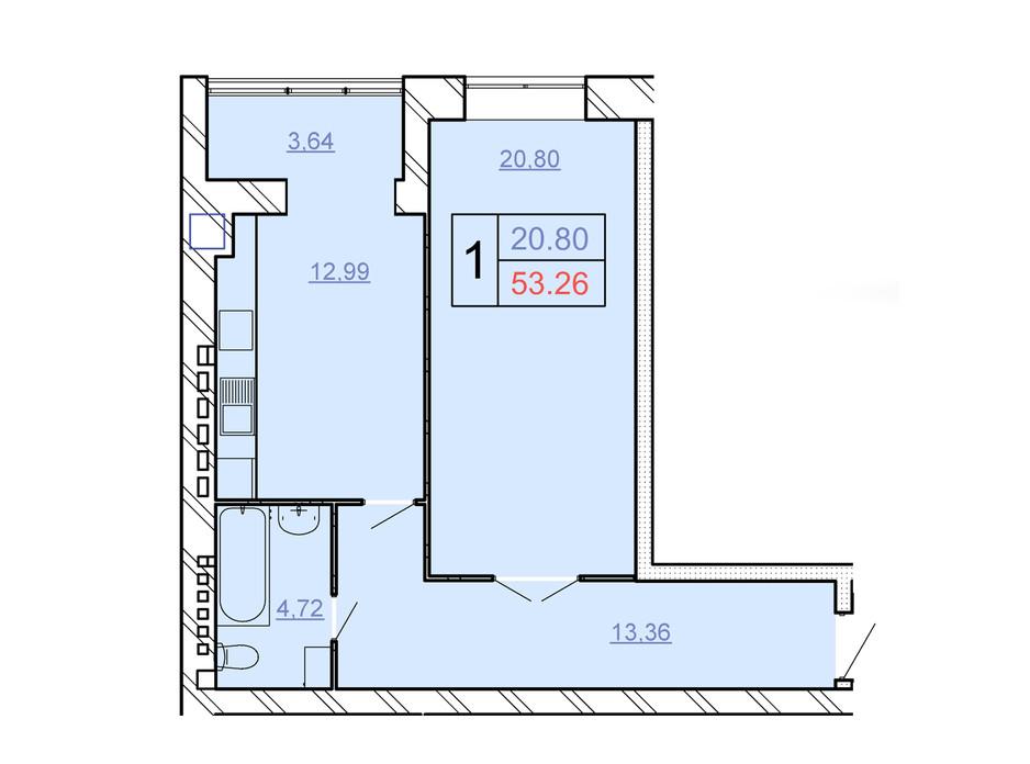 Планировка 1-комнатной квартиры в ЖСК Счастливый 53.26 м², фото 280615