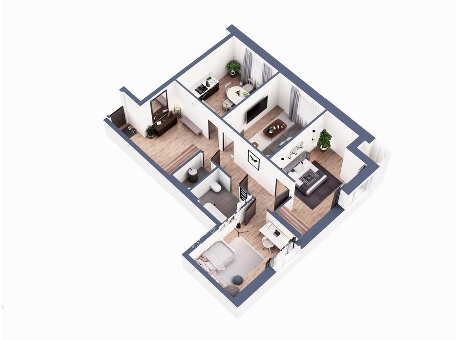 Планування 3-кімнатної квартири в ЖК Greenville Park Kyiv 92.1 м², фото 281353