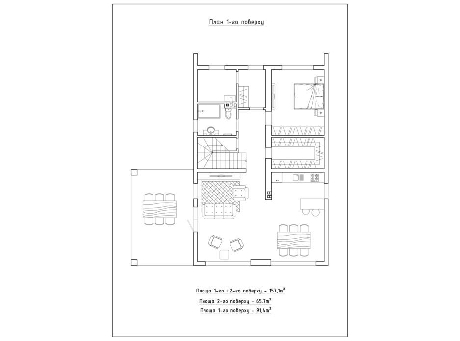 Планировка коттеджа в КГ Солнечный склон 151.7 м², фото 282399
