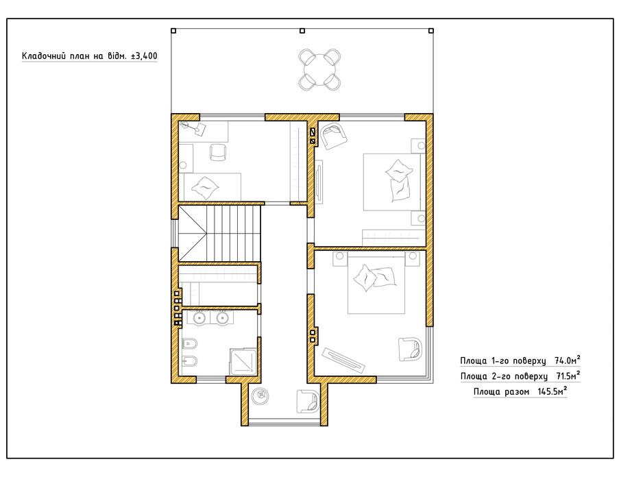 Планировка коттеджа в КГ Солнечный склон 145.5 м², фото 282415