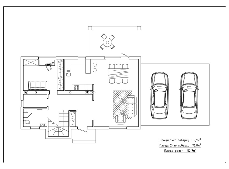 Планировка коттеджа в КГ Солнечный склон 152.7 м², фото 282424