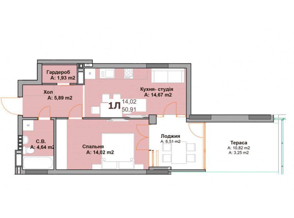 Планировка 1-комнатной квартиры в ЖК Vyshgorod Sky 50.91 м², фото 282967