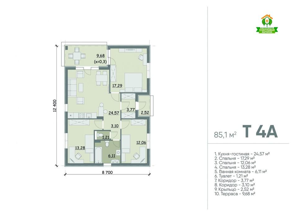 Планировка коттеджа в Коттеджный городок Счастливый Хуторок 85.1 м², фото 283019