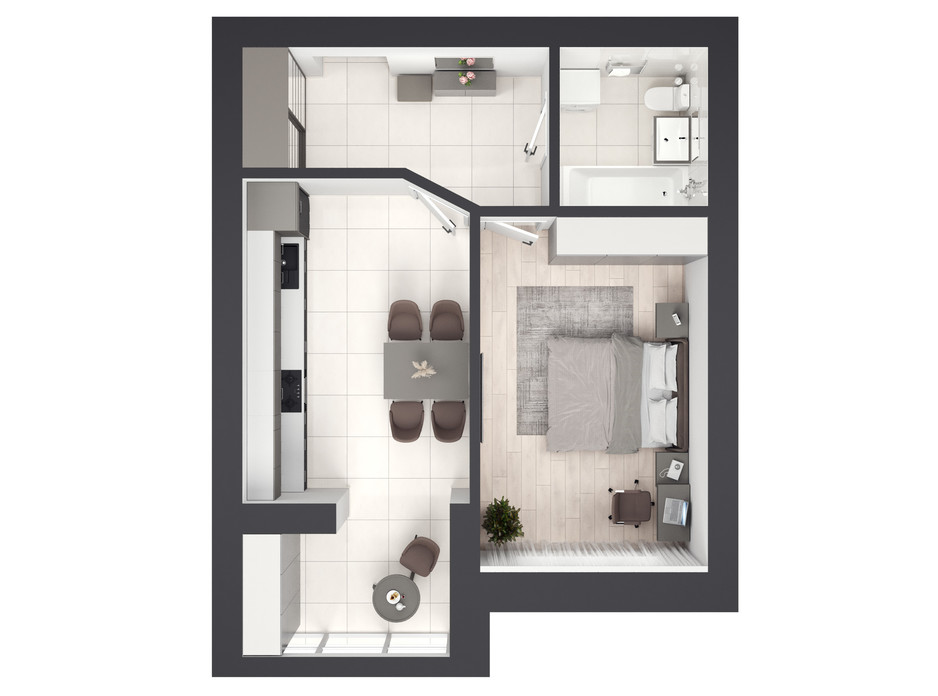 Планировка 1-комнатной квартиры в ЖК На Щасливому, дом 30 40 м², фото 286048