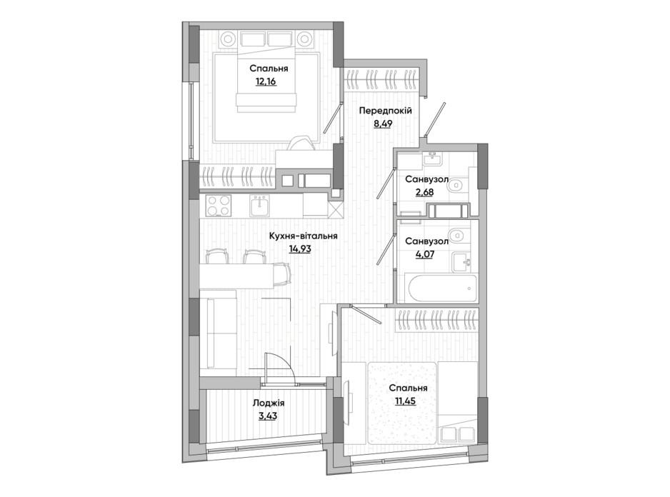 Планування 2-кімнатної квартири в ЖК Lucky Land 57.2 м², фото 287021