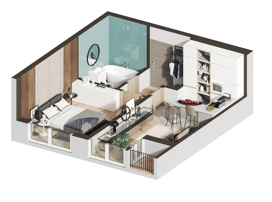 Планировка 1-комнатной квартиры в ЖК Гостомель Residence 47.3 м², фото 287092