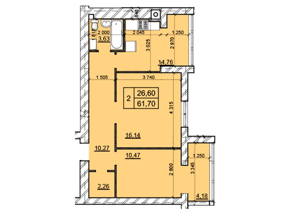Планировка 2-комнатной квартиры в ЖК Дом 3 61.7 м², фото 287235