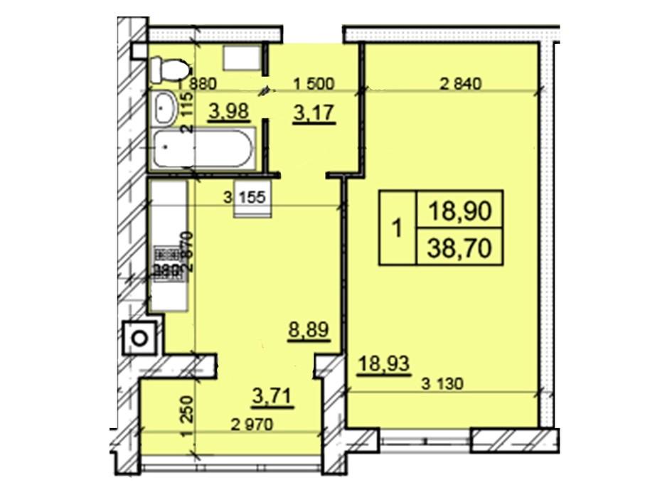 Планировка 1-комнатной квартиры в ЖК Дом 3 38.7 м², фото 287236