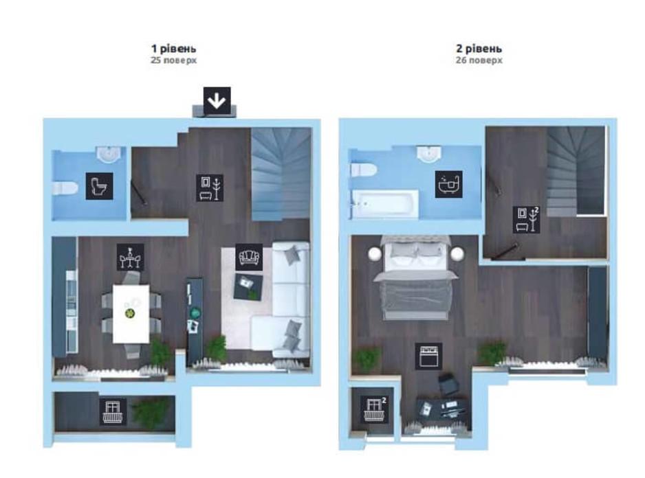 Планування багаторівневої квартири в ЖК Новопечерська Вежа 88.1 м², фото 289846