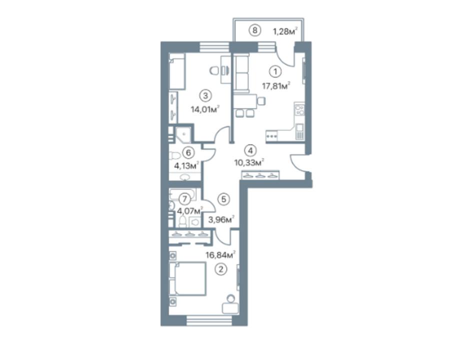 Планировка 2-комнатной квартиры в ЖК Оскар 72.43 м², фото 290384