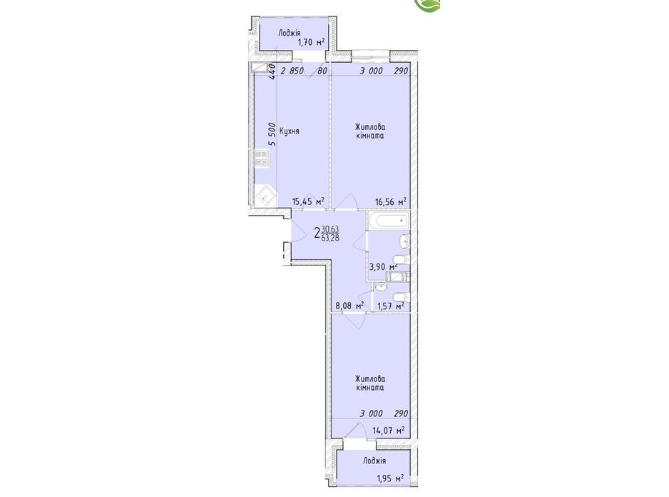 Планировка 2-комнатной квартиры в ЖК Маєток Винниківський 63.28 м², фото 290618
