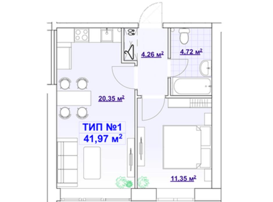 Планування 1-кімнатної квартири в ЖК Barvy 41.97 м², фото 291439