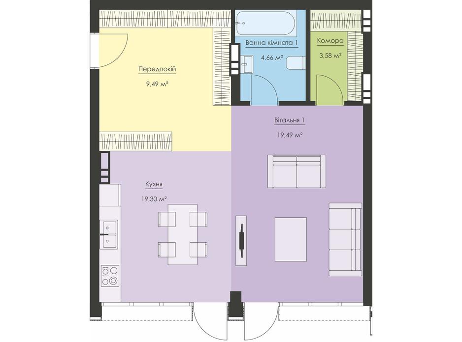 Планировка апартаментов в ЖК Новый Подол 56.52 м², фото 291470