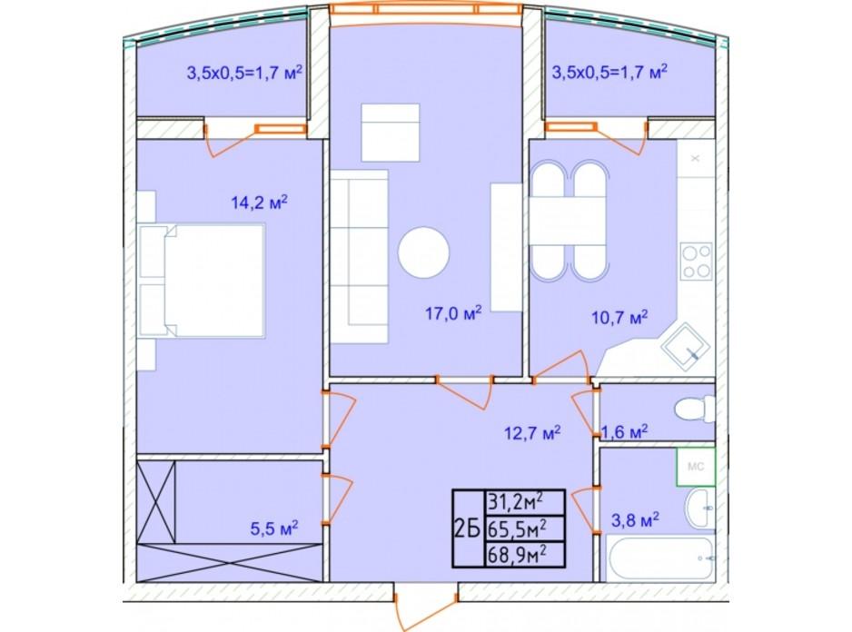 Планировка 2-комнатной квартиры в ЖК AQUA MARINE 73.7 м², фото 292192