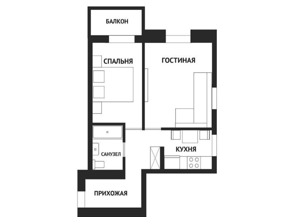 Планировка 2-комнатной квартиры в ЖК Воробьевы горы family 46.3 м², фото 292781