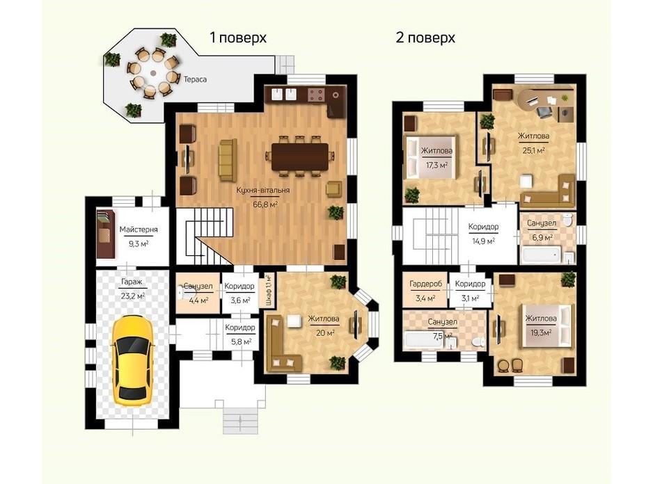Планировка коттеджа в КГ Новая Березовка 231.7 м², фото 294207