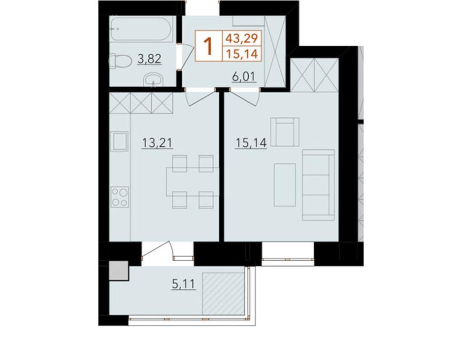 Планировка 1-комнатной квартиры в ЖК Harmony for life 43.29 м², фото 294441