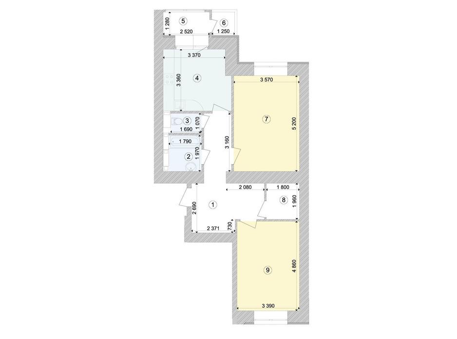 Планування 2-кімнатної квартири в ЖК Голосіївська Долина 72.54 м², фото 295352