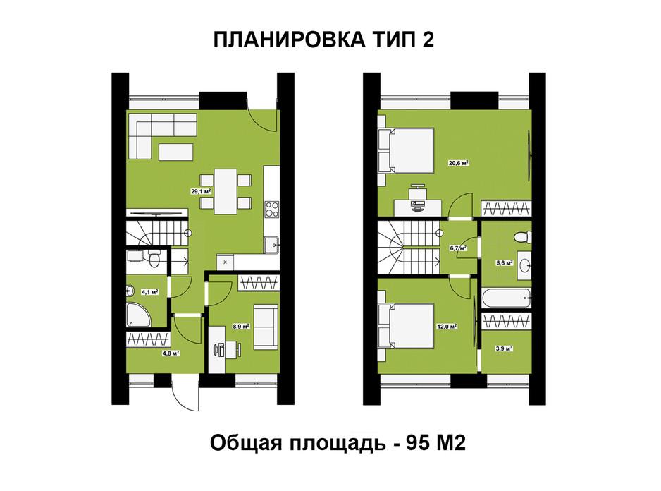 Планировка таунхауса в Таунхаус FreeDOM's 95 м², фото 295387