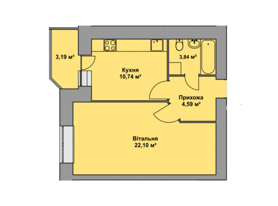 Планировка 1-комнатной квартиры в ЖК Східна Брама 44.46 м², фото 297575