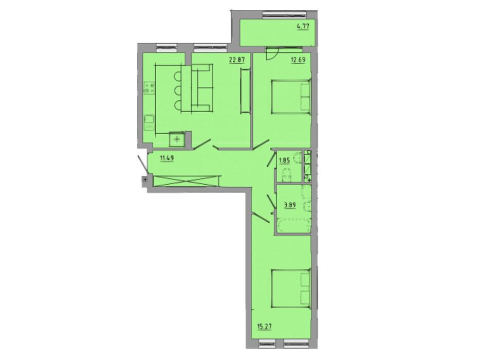Планировка 2-комнатной квартиры в ЖК Централ Холл 72.8 м², фото 297584