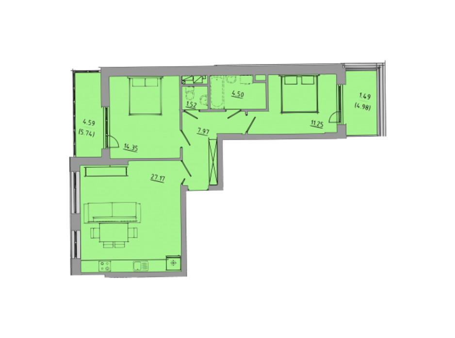 Планування 2-кімнатної квартири в ЖК Централ Хол 72.8 м², фото 297586