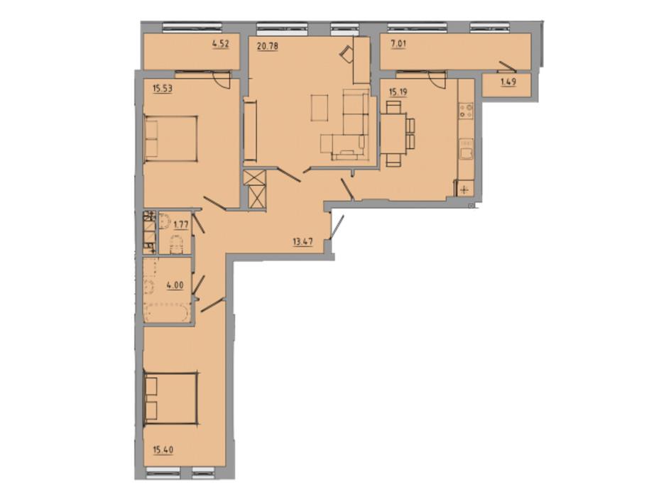 Планування 3-кімнатної квартири в ЖК Централ Хол 99.2 м², фото 297587