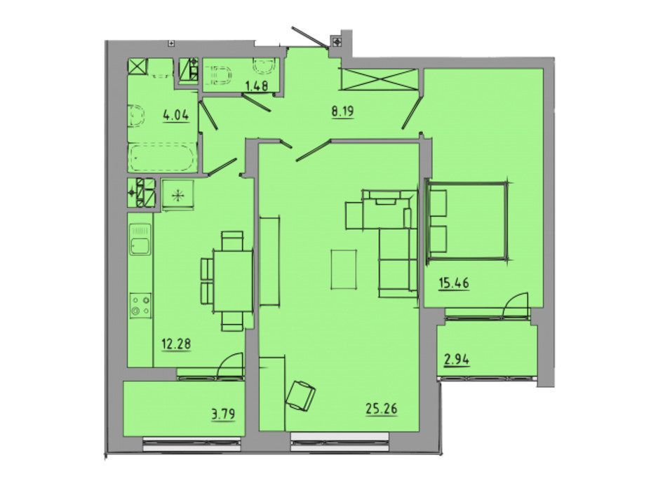 Планировка 2-комнатной квартиры в ЖК Централ Холл 73.4 м², фото 297588