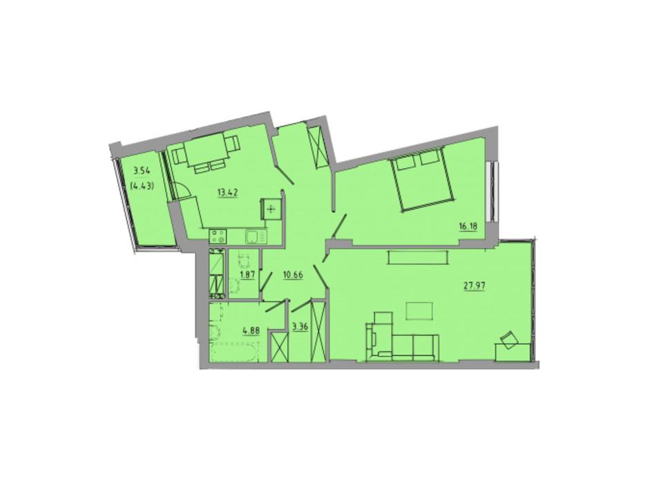 Планировка 2-комнатной квартиры в ЖК Централ Холл 81.9 м², фото 297589