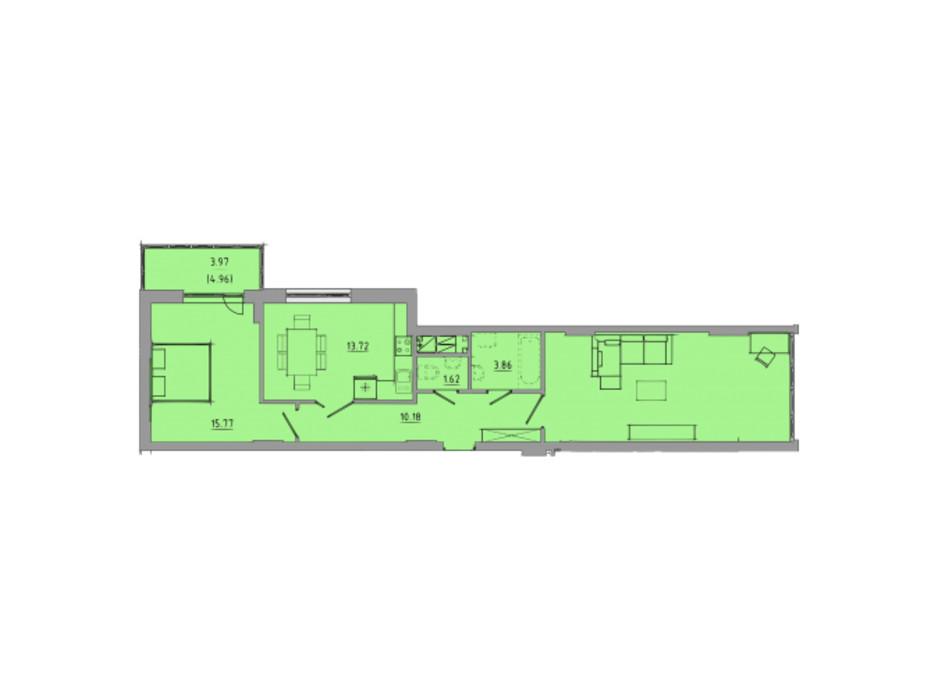 Планировка 2-комнатной квартиры в ЖК Централ Холл 74.7 м², фото 297590