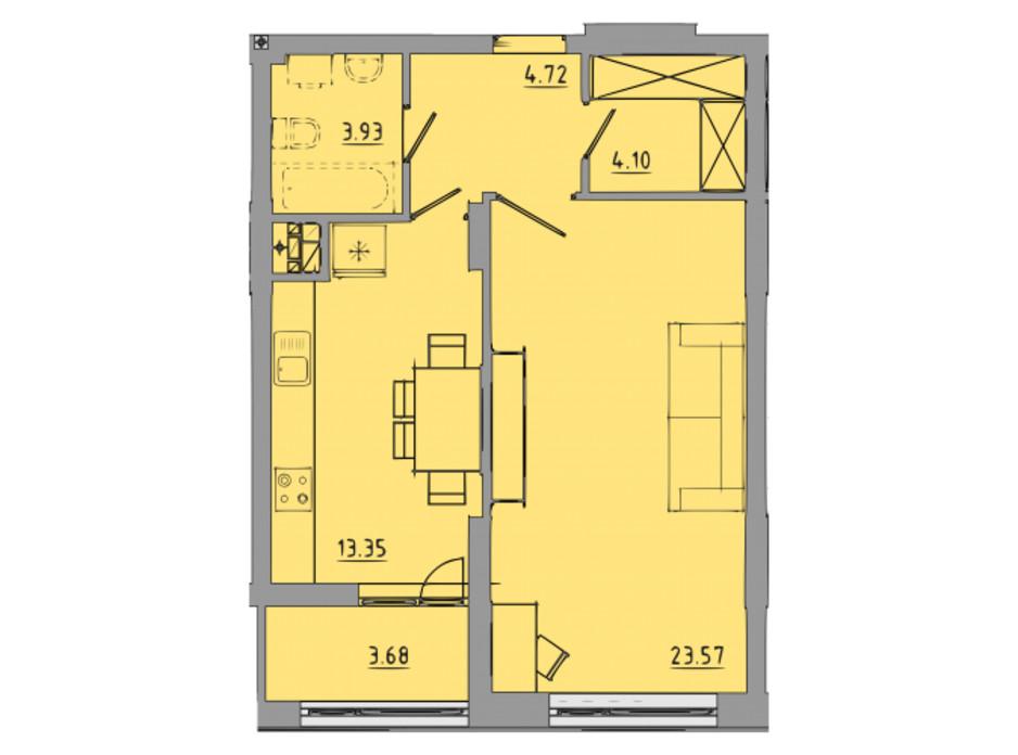Планировка 1-комнатной квартиры в ЖК Централ Холл 53.4 м², фото 297591