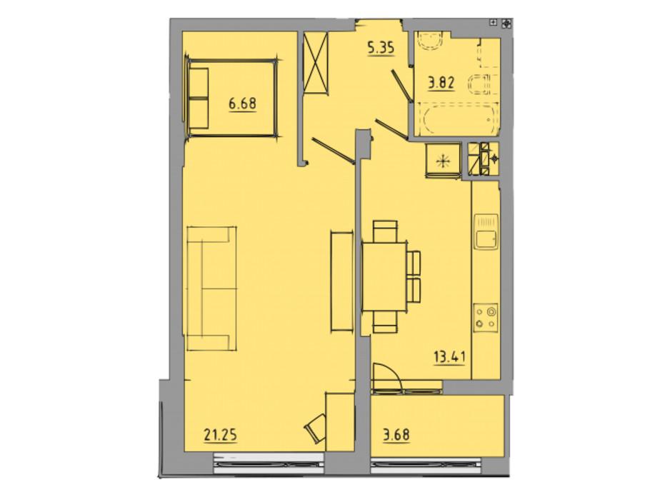 Планування 1-кімнатної квартири в ЖК Централ Хол 54.2 м², фото 297592