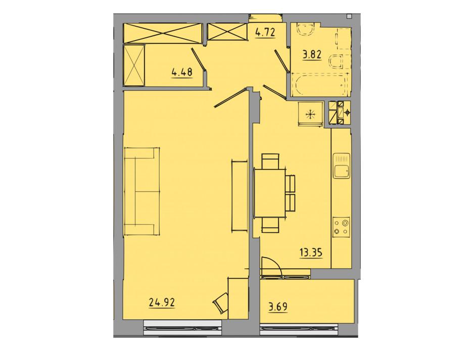 Планировка 1-комнатной квартиры в ЖК Централ Холл 55 м², фото 297593