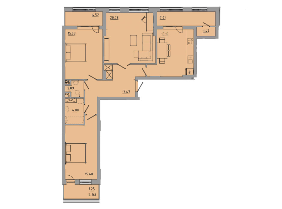 Планировка 3-комнатной квартиры в ЖК Централ Холл 100.7 м², фото 297599