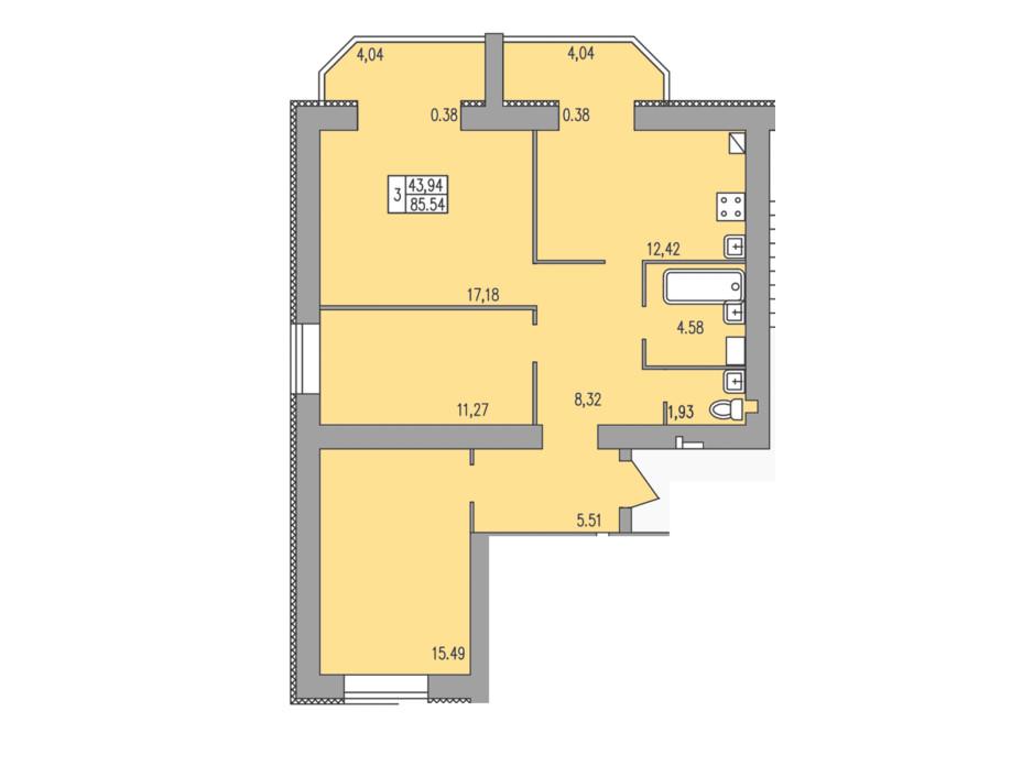 Планировка 3-комнатной квартиры в ЖК Прованс 85.54 м², фото 297730