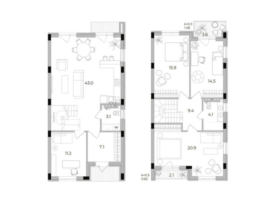 Планировка 3-комнатной квартиры в Таунхаус Eastville 129.2 м², фото 299511