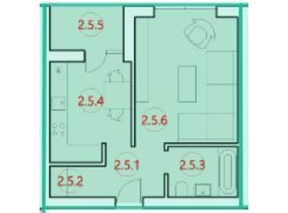 Планировка 1-комнатной квартиры в ЖК Горизонт 34.1 м², фото 300202