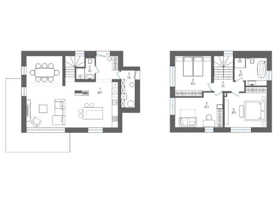 Планировка коттеджа в КГ Mulberry Homes 145 м², фото 300917