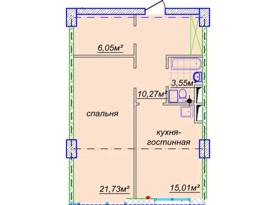 Планировка свободная планировка квартиры в ЖК Миронова 59.2 м², фото 303266