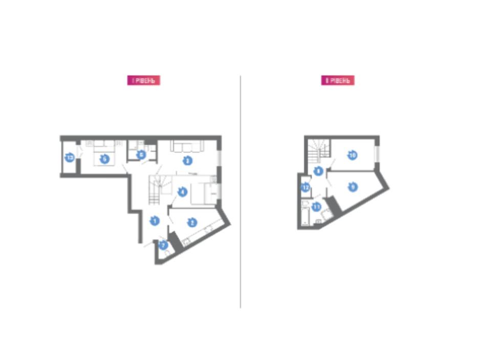 Планування багаторівневої квартири в ЖК Family & Friends 115.33 м², фото 304056