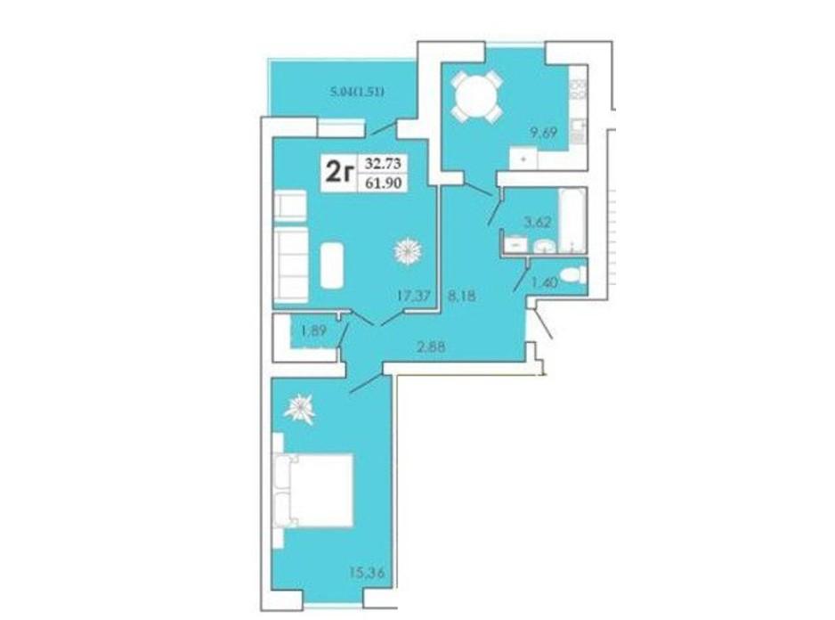 Планировка 2-комнатной квартиры в ЖК Maiborsky 62.61 м², фото 304900