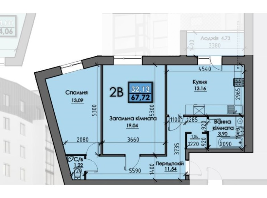 Планировка 2-комнатной квартиры в ЖК Iceberg 64 м², фото 304909