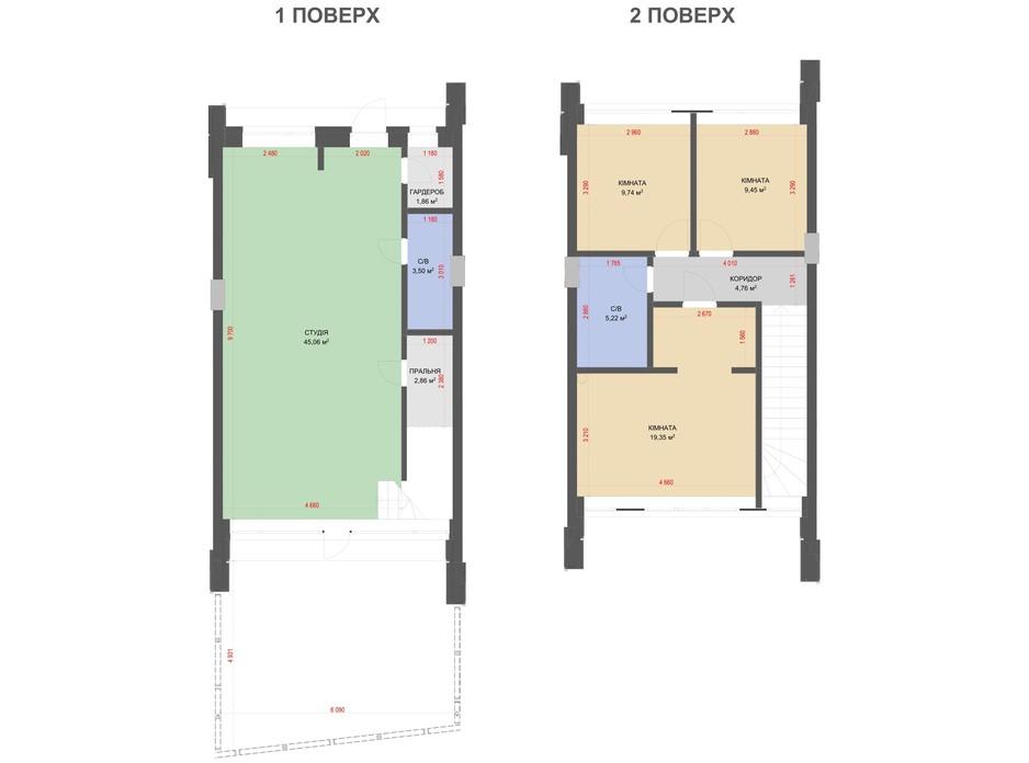 Планировка таунхауса в КГ Comfort Life Villas 101 м², фото 304983