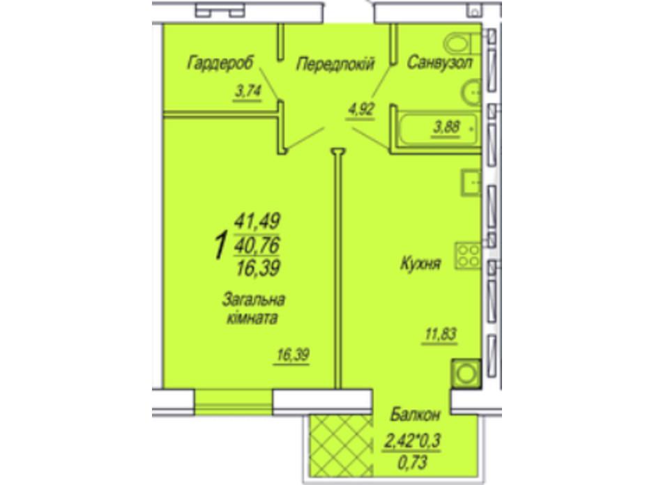 Планировка 1-комнатной квартиры в ЖК Семейный 41.7 м², фото 306111
