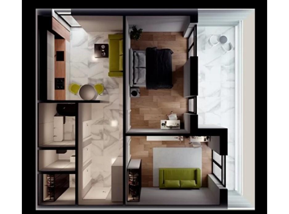 Планування 2-кімнатної квартири в ЖК Crystal 71.43 м², фото 308463
